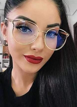 Óculos para grau armações feminino redondo dourado novo chic