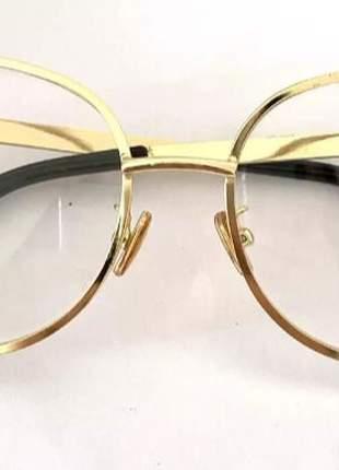 169db61ca ... Óculos para grau armações feminino redondo dourado novo chic2 ...