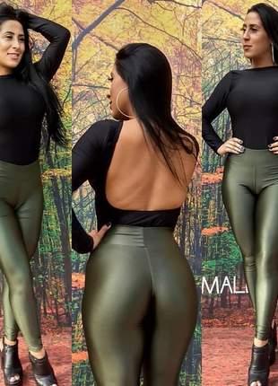 Body feminino manga longa com as costas vazada