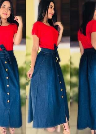 Saia feminina em jeans com laço e botões longa