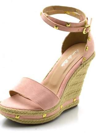 Sandália anabela espadrille salto plataforma rosa spikes dourado