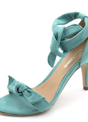 Sandalia social feminina salto alto fino laço azul turquesa