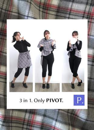 Saia pivot multiuso curta. lãzinha xadrez 4