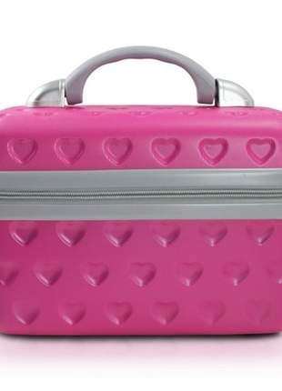 Frasqueira de viagem de corações pink