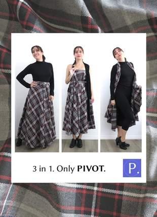 Saia pivot multiuso longa. lãzinha xadrez 2