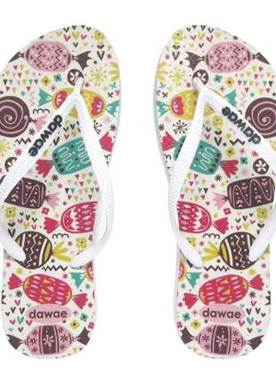 Chinelo dawae sweet summer branco