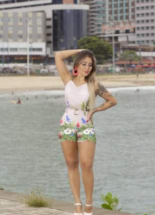 Conjunto short e blusa alfaiataria feminino verão