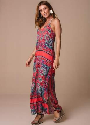 Vestido longo alça macrame