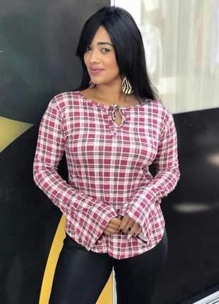 Blusa feminina laço no decote manga longa flare