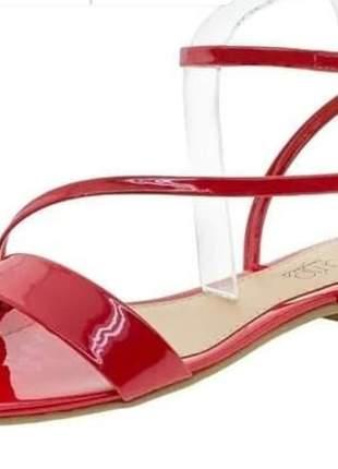 Sandalia rasteira vermelha