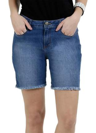 Bermuda feminina jeans barra desfiada just girls