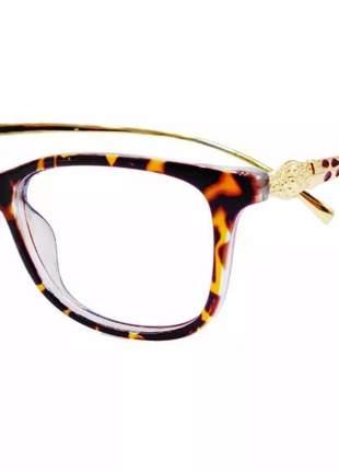 Óculos armação tartaruga azul onça gatinha lentes de grau