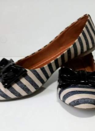 Sapatilha feminina sapatilhas da nati linho listrada ponta rendonda
