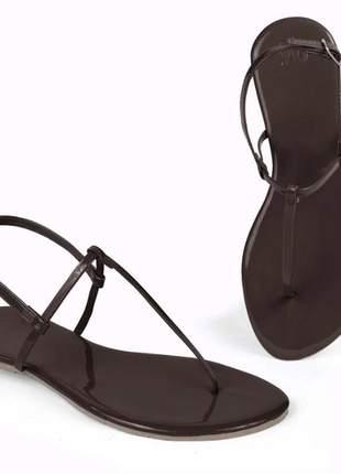 Kit 3 pares sandália flat simples mercedita shoes preto, vermelho e marrom