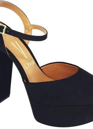 Sandália salto grosso alto confortável