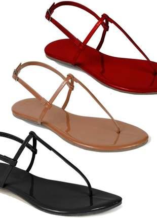 Kit 3 pares sandália flat simples mercedita shoes preto, vermelho e caramelo