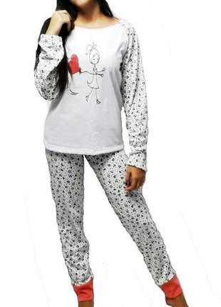 Pijama feminino conjunto raglan coral outono/inverno 008