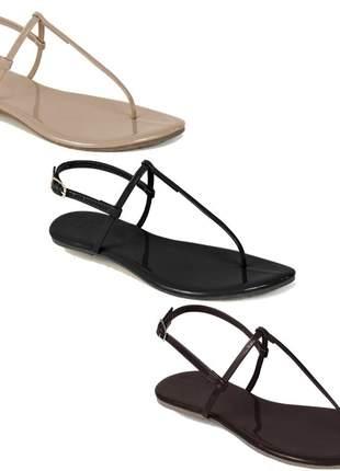 Kit 3 pares sandália flat simples mercedita shoes preto, areia e marrom