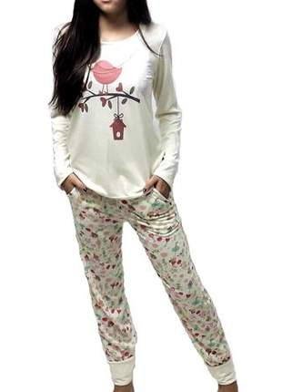 Pijama feminino conjunto marfim outono/inverno 001