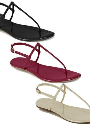 Kit 3 pares sandália flat simples mercedita shoes preto, gelo e marsala