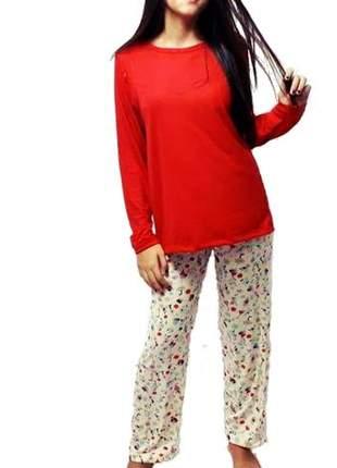 Pijama feminino conjunto colore outono/inverno 010