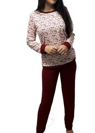 Pijama feminino conjunto grena outono/inverno 006