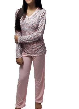 Pijama feminino conjunto nina gola v 002 outono/inverno