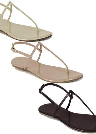 Kit 3 pares sandália flat simples mercedita shoes preto, gelo e areia