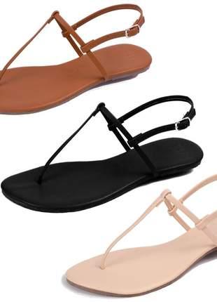 Kit 3 pares sandália flat simples mercedita shoes napa preto, amendoa e caramelo