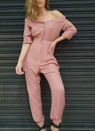 Macacão lady rock - rosê