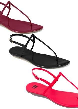 Kit 3 pares sandália flat simples mercedita shoes preto, marsala e napa morango