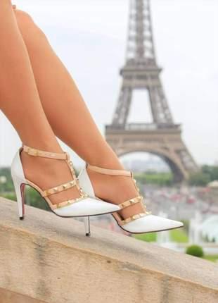 Sapato scarpin branco com nude modelo valentino