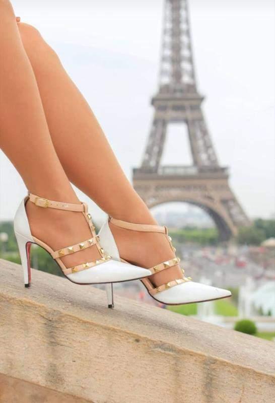 Sapato Scarpin Branco Com Nude Modelo Valentino R 19990 Shafa O Melhor Da Moda Feminina
