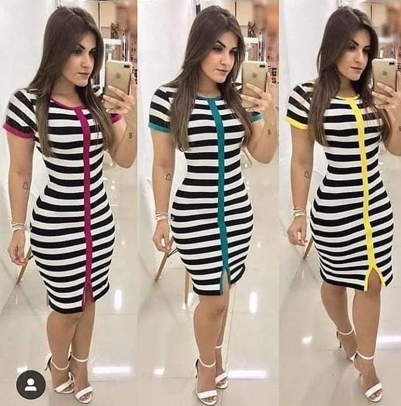 Vestido Midi Em Modal Listrado Com Fenda Na Lateral E Detalhes Em Botão R 12000 Shafa O Melhor Da Moda Feminina