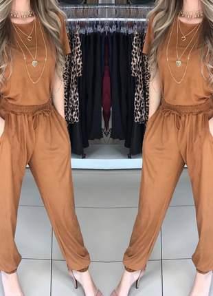 Conjunto em suede feminino blusa e calça inverno calça com elastico