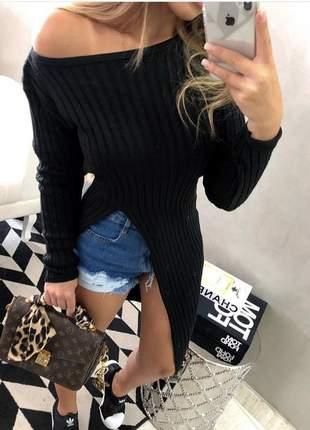 Maxi tricot canelado alongado com fenda