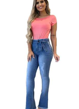 Calça jeans feminina clochard flare com lycra