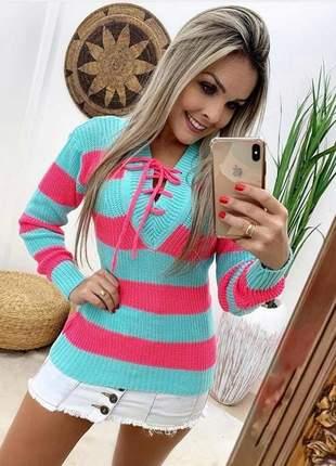 Blusa cordão moda feminina outono inverno