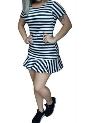 Vestido feminino listras babado com bojo