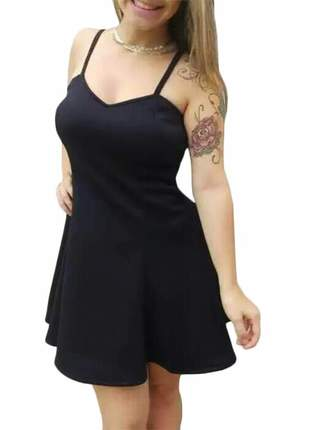 Vestido rodado alça fina preto com bojo