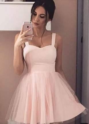 Vestido curto festa casamento madrinha tulê