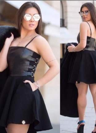 Vestido feminino cirret curto rodado princesa