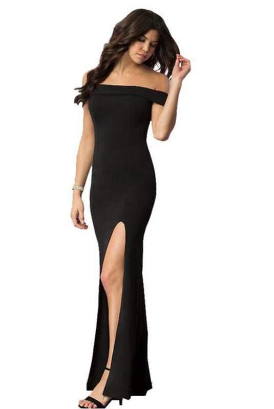 ed595bbbb Vestido longo ombro a ombro com fenda - R$ 89.99 (com estampa de ...