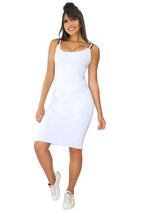 90e97ff8e Vestido midi com listras na alcinha - R$ 69.99 (com estampa de ...