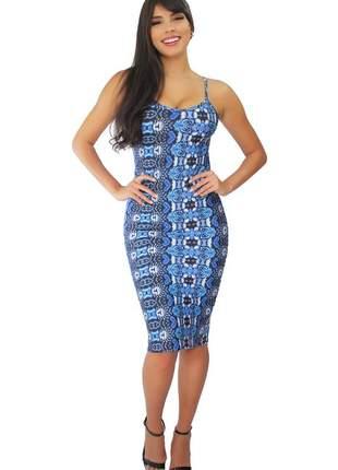 Vestido midi tubinho estampa azul