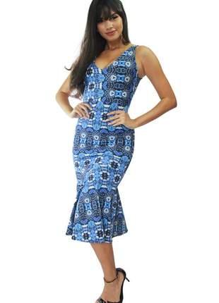 Vestido midi com babado estampa azul