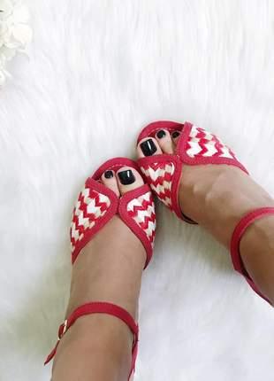 Sandalia anabela espadrille fun store vermelha e branca salto medio cordas confortavel