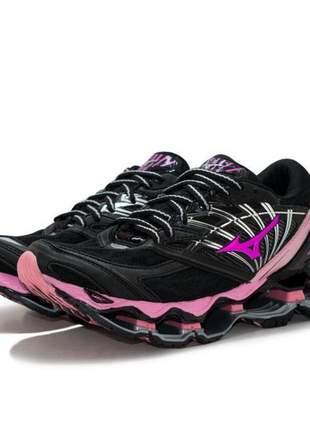 Tênis mizuno wave prophecy 8 preto e rosa