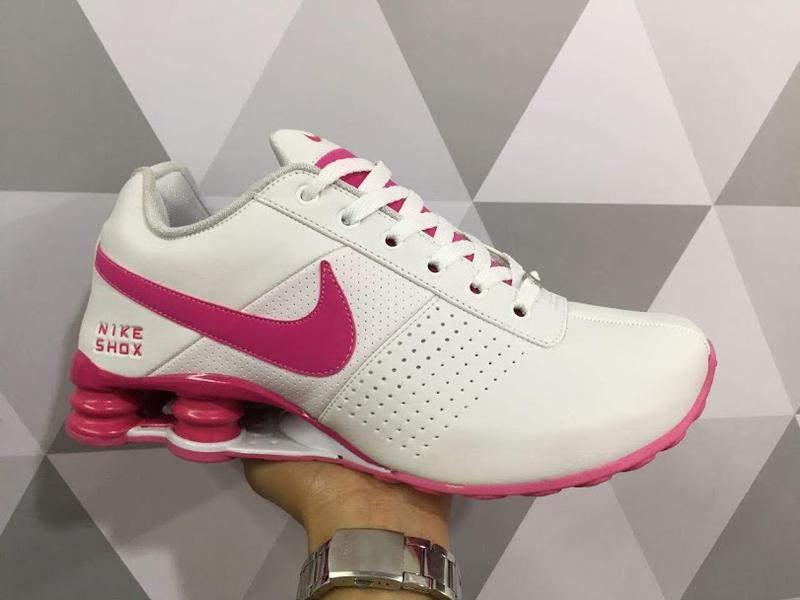 nike shox feminino rosa e branco