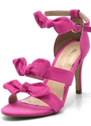 Sandália feminina social com laços salto alto em camurça pink